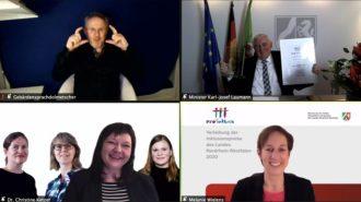 Screenshot Preisverleihung Inklusionspreis NRW