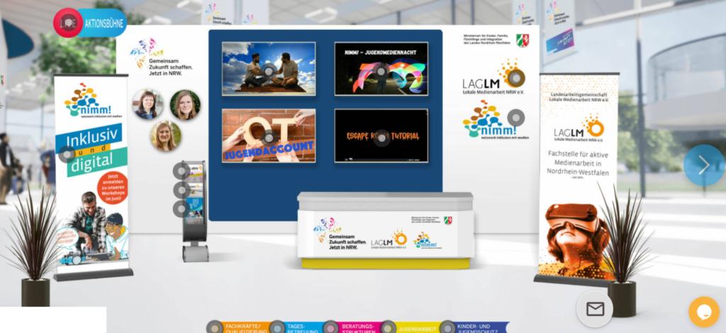 Screenshot unseres virtuellen Messestandes beim DJHT